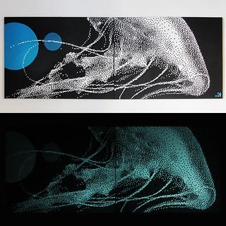 GLOWING MEDUSA 160x60cm acrilico fosforescente su tela