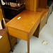 Teak sewing flip top table