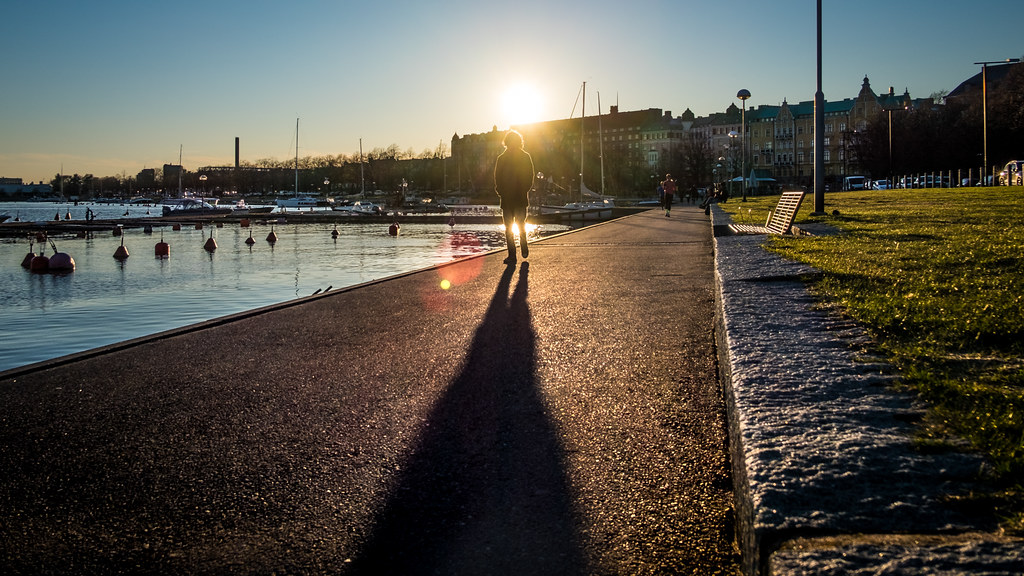Man walking at sunset, Helsinki, Finland picture