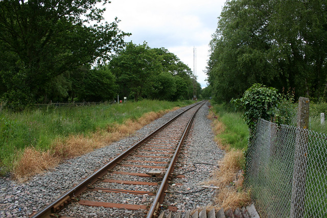 Crossing the Fawley railway line at Hythe