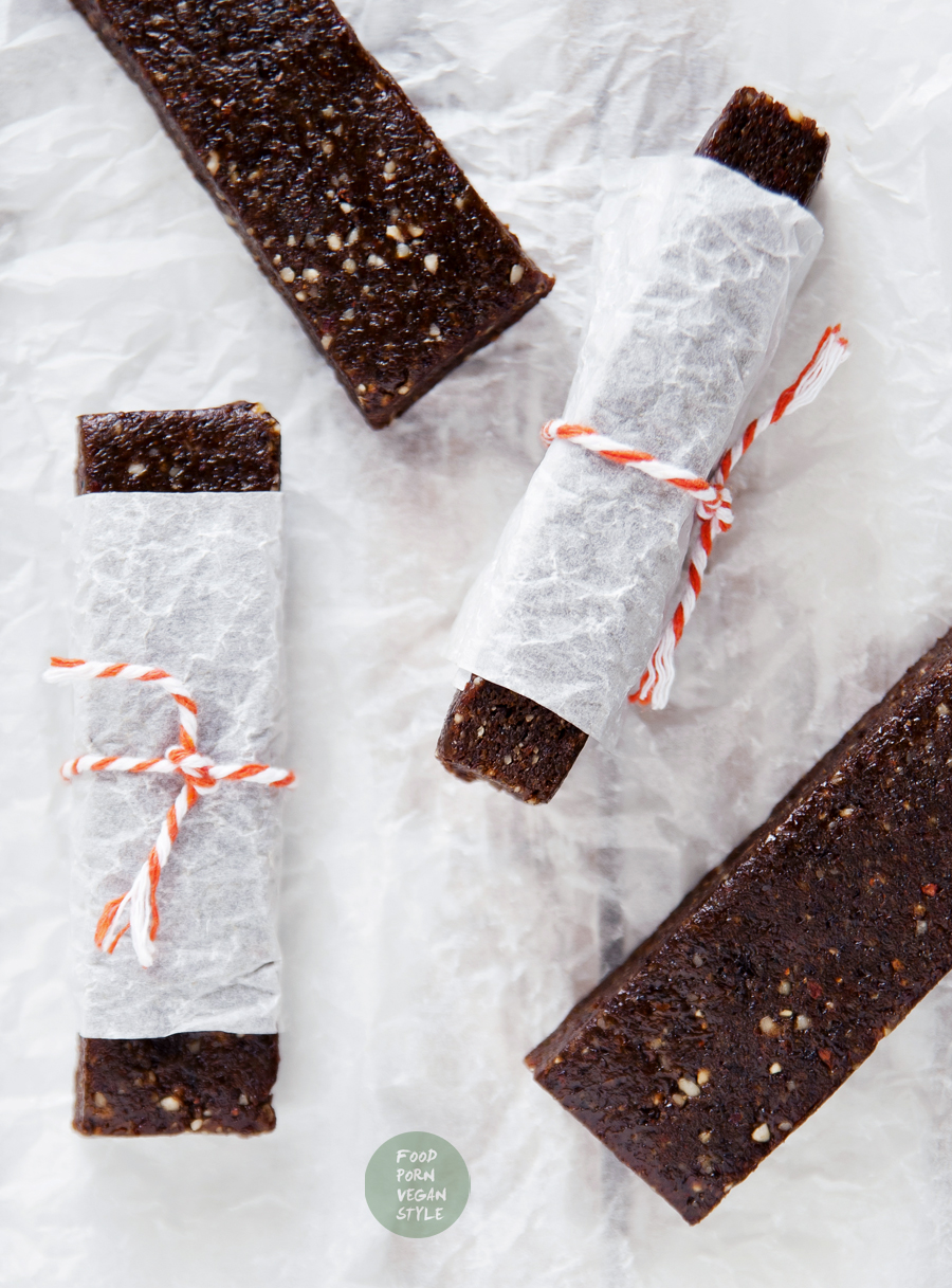 Vegan energy bars, made with raisins, pumpkin seeds and hazelnuts