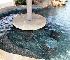Flagstone table top with underwater bar stools