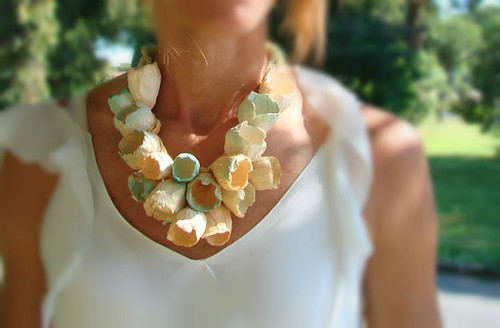 Aqua and Blush Paper Flowers Necklace