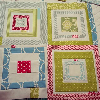 Four new blocks for my #redandaquabee quilt! I may have founded a modern quilt guild, but this is about as improv as I get!