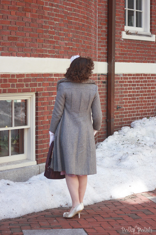 Back view of 70s-does-40s grey wool coat