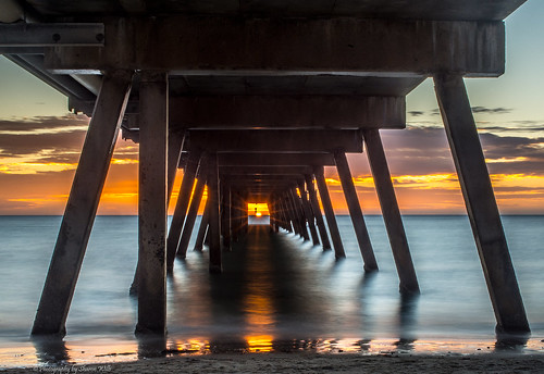 sunset summer sun colour beach jetty south australia rays dslr glenelg d7100