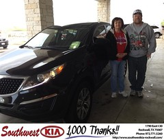 #HappyAnniversary to Harry & Joann  Taylor on your 2014 #Kia #Sportage from Kathy Parks at Southwest KIA Rockwall!