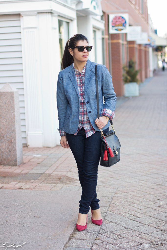 chambray blazer, plaid shirt, red pumps-2.jpg