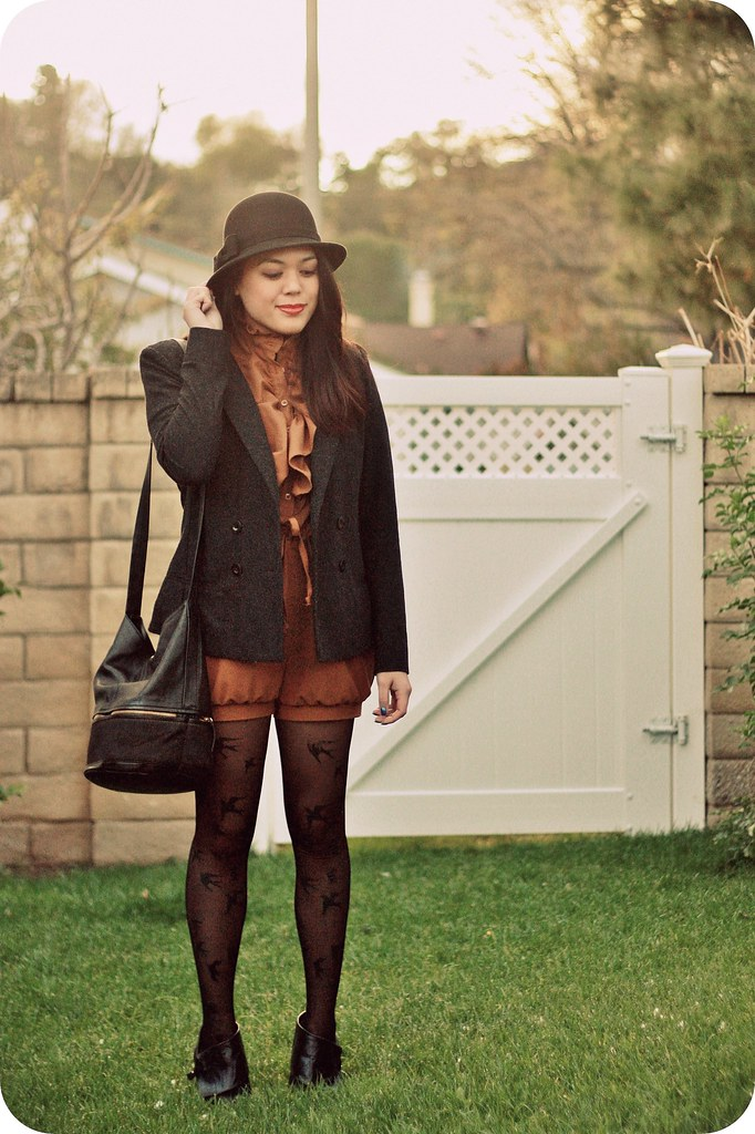 Sweets & Hearts Style: Outfit post featuring Dear Creatures romper, Hare and Hart pony hair bucket bag, Urban Outfitters bird tights, cloche hat