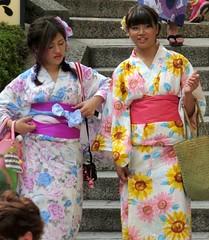 Such colorful kimonos! Kyomizu-dera (Buddhist Temple), Kyoto, Japan, July 2014