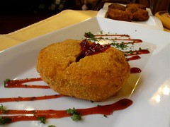 Fried cheese with cranberry sauce, Brno