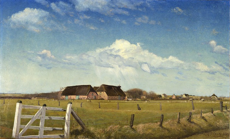 Laurits Andersen Ring - Fenced-in Pastures by a Farm with a Stork's Nest on the Roof (1903)