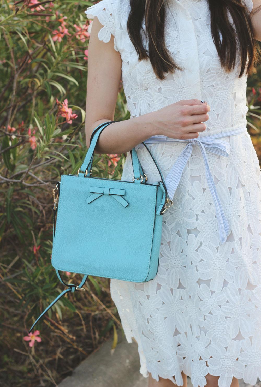 Blue bow ladylike crossbody box bag