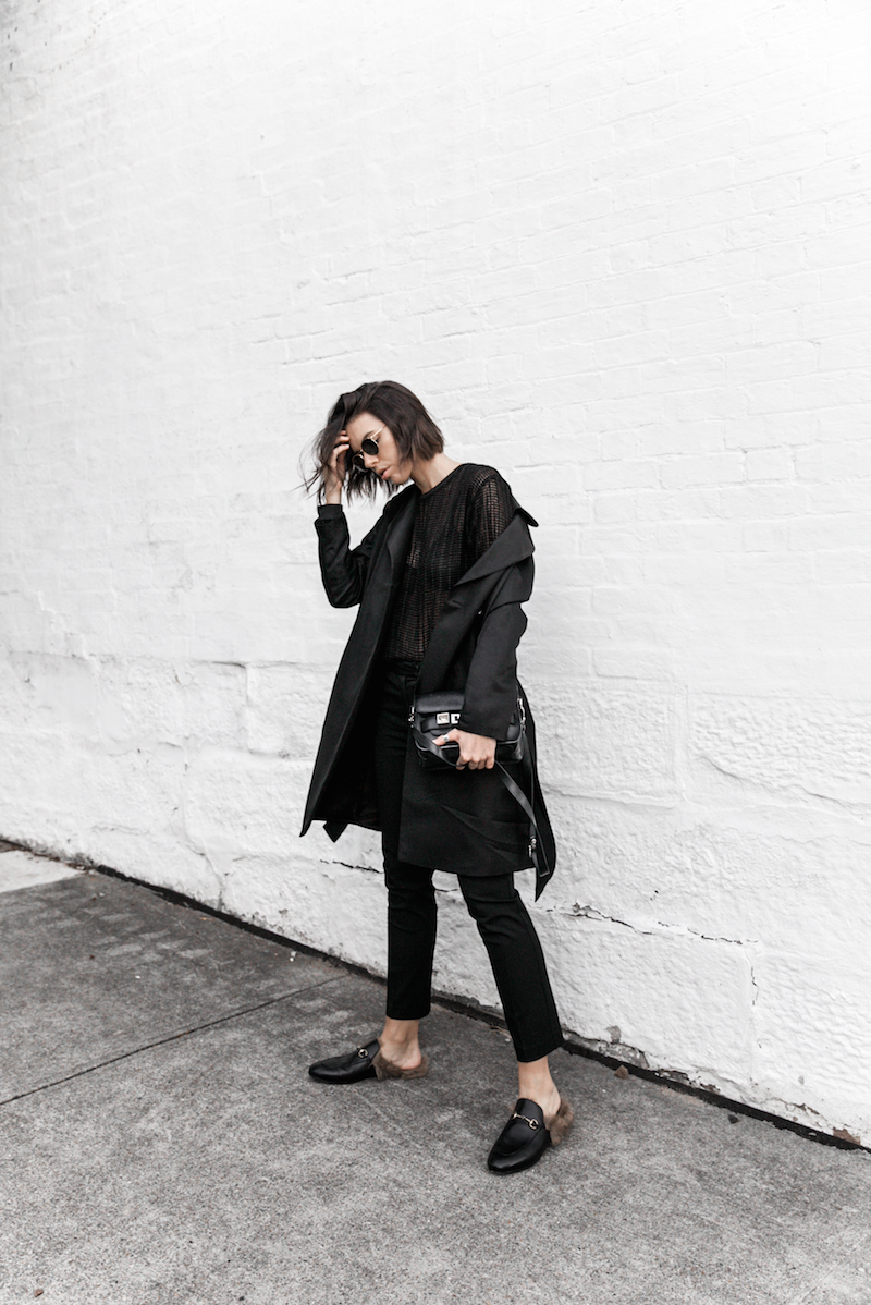 1aea9ddaa69 all black reiss modern legacy fashion blogger Gucci Princetown fur loafers  Proenza Schouler PS11 mini outfit