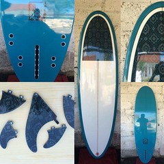 Awesomesauce. My new custom 6'6, by Elevation in Bali. Used my own batik shirt for the inlay and fins.