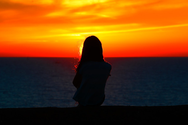 my oldest daughter watching the sunset - Tel-Aviv beach