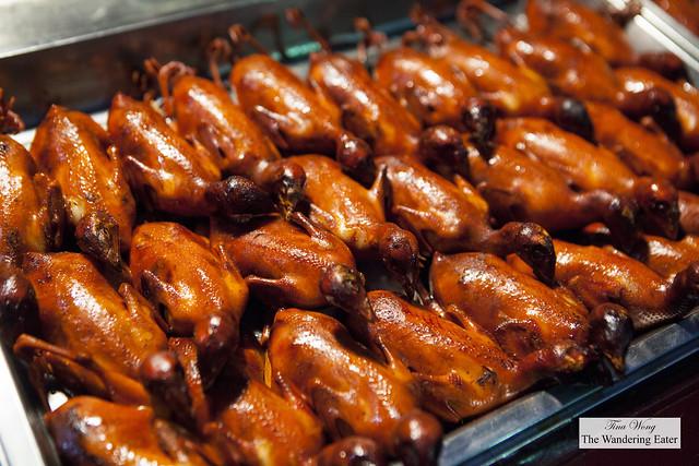 Skewers of roast squab