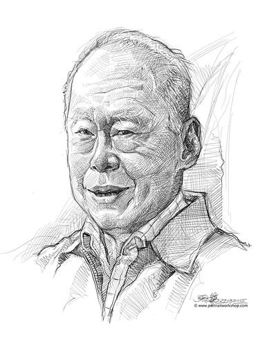 digital portrait sketch of Lee Kuan Yew