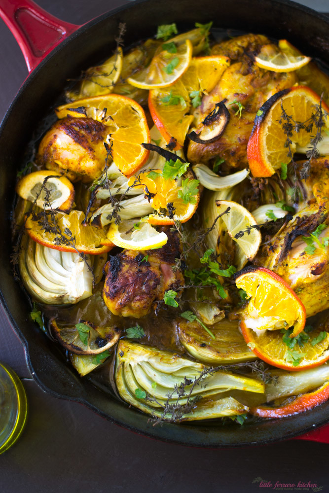Olive Oil Braised Chicken with Citrus, Fennel and Turmeric via LittleFerraroKitchen.com
