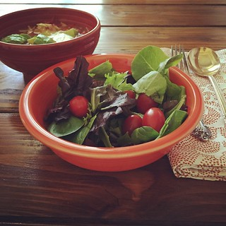 Chicken Tortilla Soup with avocado and side salad in #Fiestaware #Poppy cereal bowl and #Paprika large footed bowl.