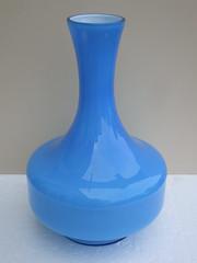 Light Blue Scandinavian ? Cased Art Glass Vase 70's Retro Mid Century Modern