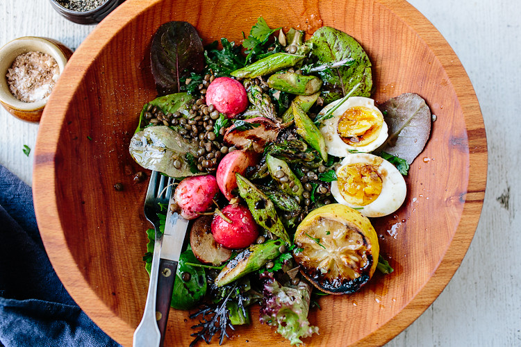 Lentil Salad with Spring Greens, Asparagus, and a Soft Egg | the year in food