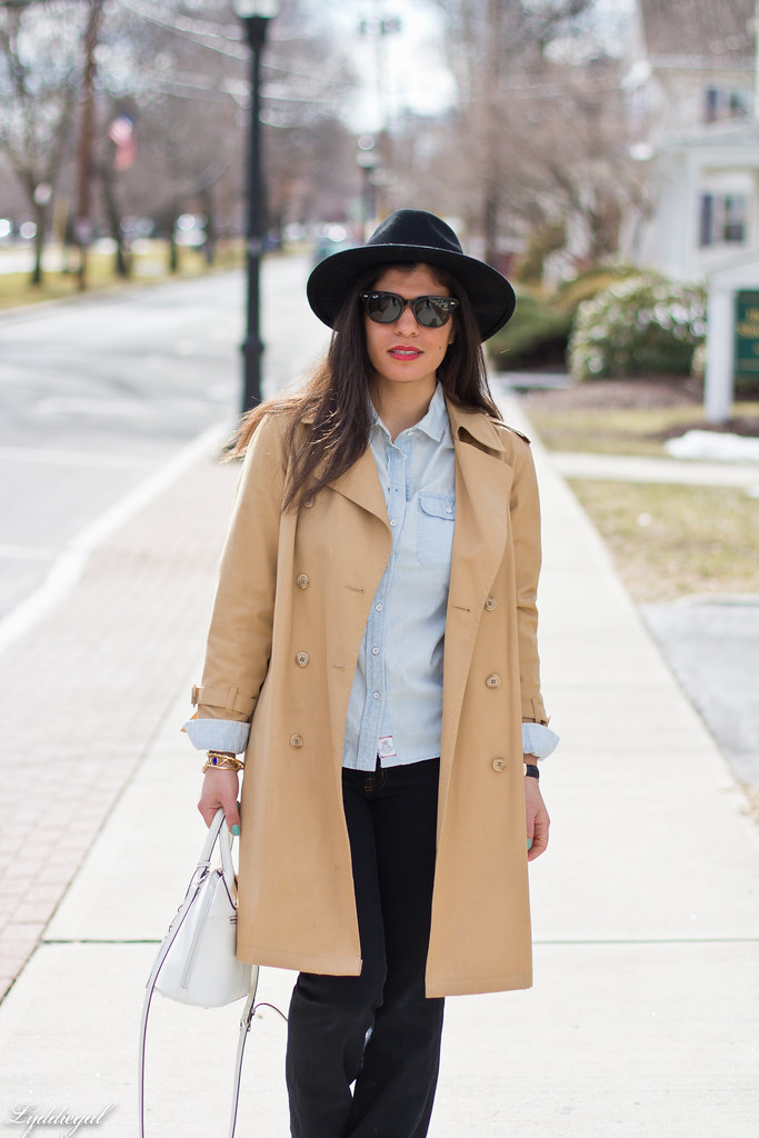 double denim, trench coat, wool fedora-3.jpg