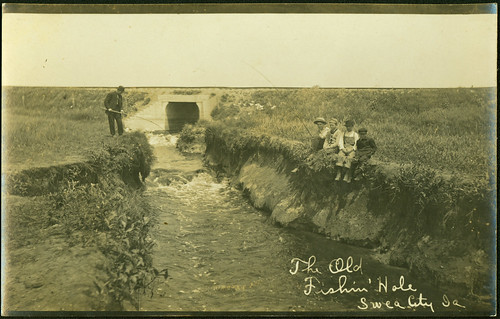 children fishing creeks photopostcards sweacityiowa