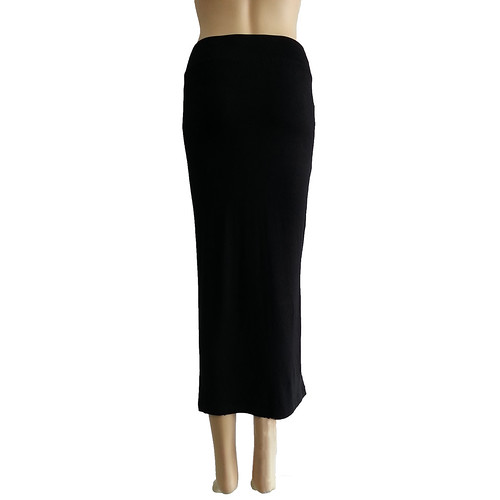Womens Thin Long Straight Skirt Casual Side Slit Bust ...