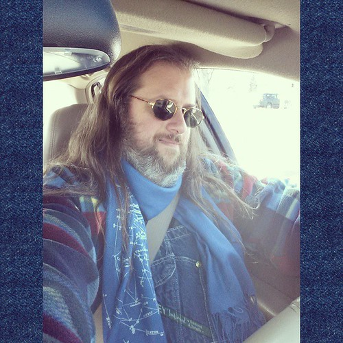 Nice day for driving. (Don't worry, I was parked when I took this!) #overalls #driving #vintage #plaid #scarf