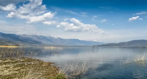 sky lake reflection clouds skyscape landscape flood bluesky macedonia lakeshore land cloudscape flooded lakescape floodedfield cloudsscape lakedojran