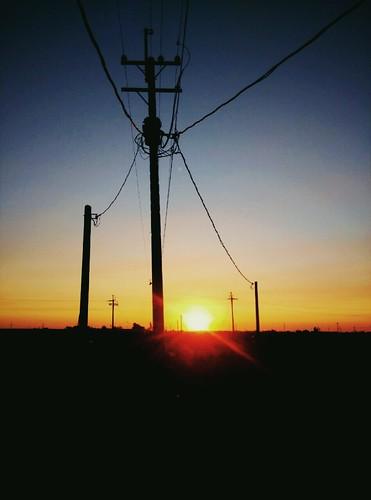 夕陽 風景 剪影 電線桿 布袋 晨昏 嘉義縣 過溝