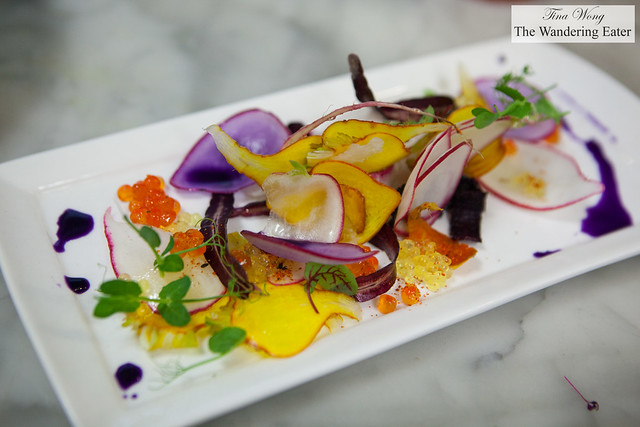 Chef Bruno Verjus of Table (Paris, France - Root vegetable salad with anise seed oil, trout and salmon roe