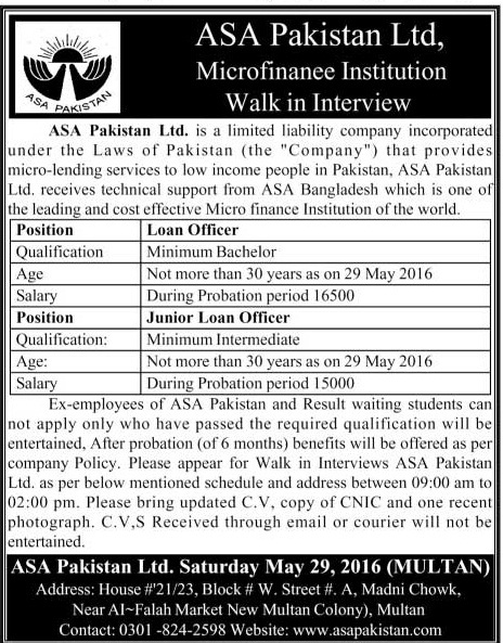 ASA Pakistan Loan Officiers Required