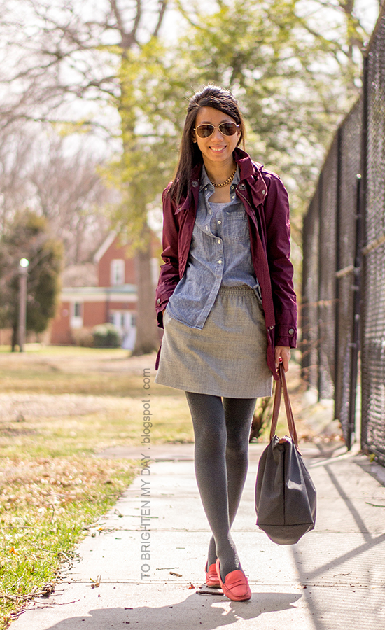 burgundy jacket, chambray shirt, gray wool skirt, red loafers