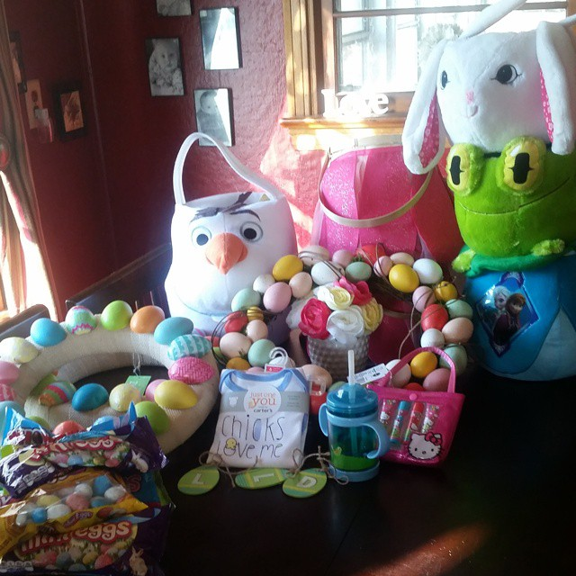 Target Easter clearance sucked me in. 6 baskets, 3 wreaths, a onesie, a straw cup, candy, lip balm, and basket tags for less than $15!  I don't feel guilty at all!