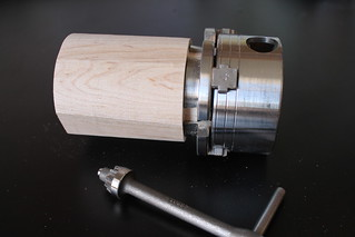 4 Jaw chuck attached to tenon