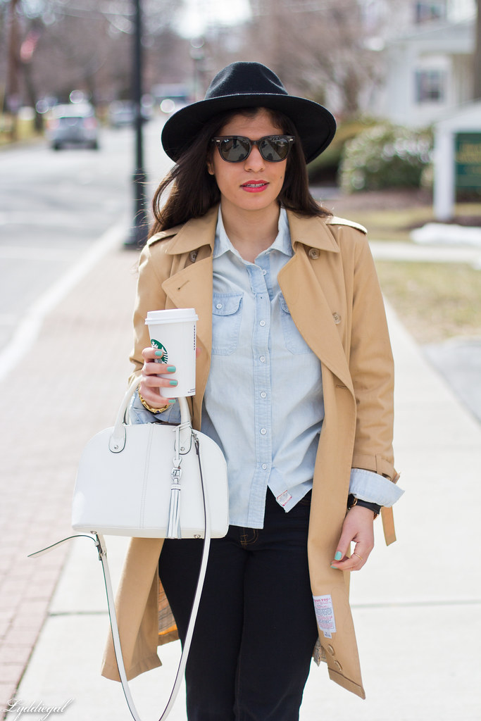 double denim, trench coat, wool fedora.jpg
