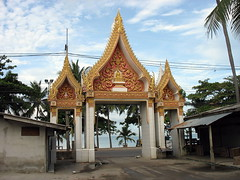 entrance to a buddhist temple at the beach