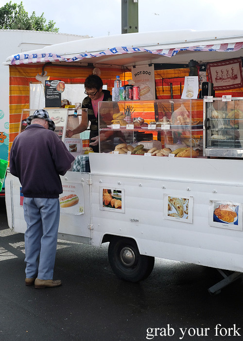 Chilean hot dogs and empanadas at NICCE food truck at Harbourside Market, Wellington