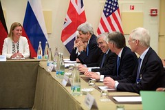 U.S. Secretary of State John Kerry shares a laugh with some of his counterparts from Germany, China, the European Union, France, United Kingdom, and Russia on March 29, 2015, in Lausanne, Switzerland, before a coordinating meeting among the P5+1 partner nations about negotiations over the future of Iran's nuclear program. [State Department Photo / Public Domain]