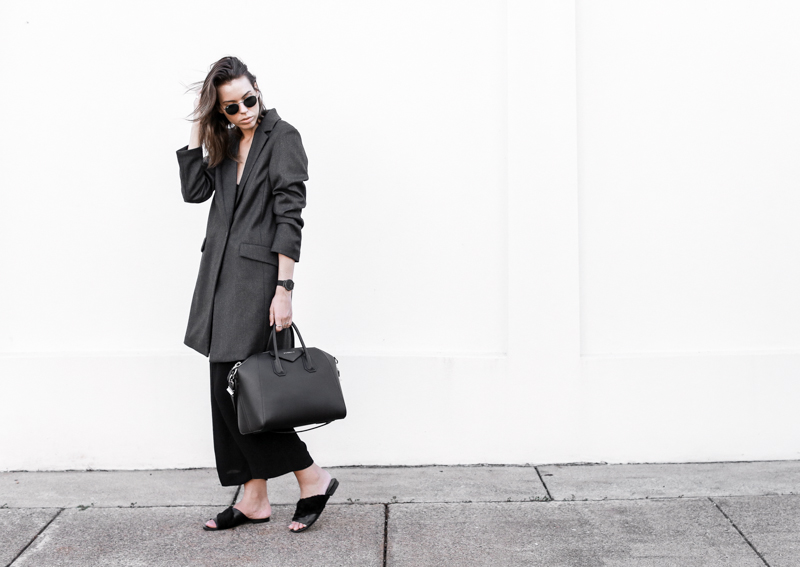 workwear, street style, monochrome, slide sandals, modern legacy, fashion blog, outfit (1 of 1)