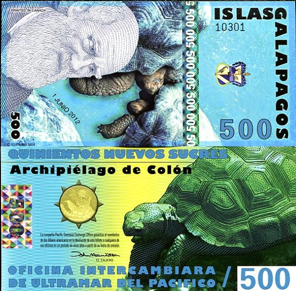 500 New Sucres Galapágy 1.6.2012, polymer