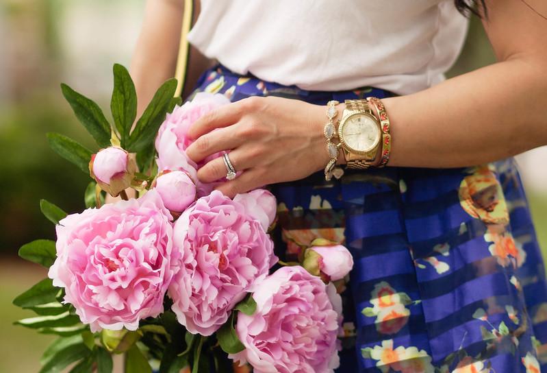 cute & little blog   petite fashion   arm bracelet stack   kendra scott jana bracelet, kors lexington watch, stella & dot strength elephant bracelet