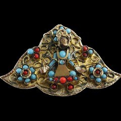Tibetan Coral & Turquoise Brooch