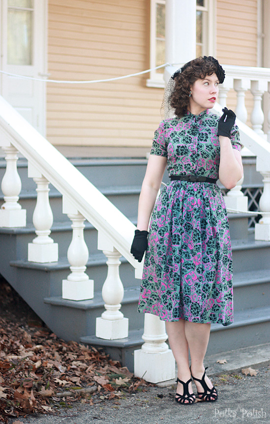Pink, aqua, and black floral print 40s rayon dress with black accessories