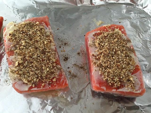 salmon + mayo + dukkah