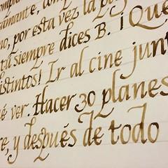 Letra Cancilleresca con colapen y nogalina. #calligraphy #caligrafia