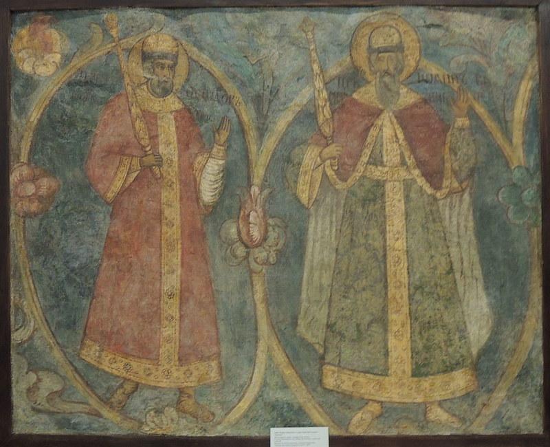Fedor I and Ivan IV at fresco from Spaso-Preobrazhenskiy monastery, photo made by Shakko-Wikipedia