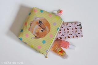 Orange Apollo's Flat Bottom Zipper Pouch for Bunny Lovers (Lop Ear, Taste Of Spring)